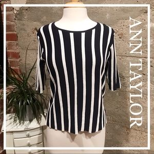 NWT Ann Taylor Dark Blue And White Striped Sweater